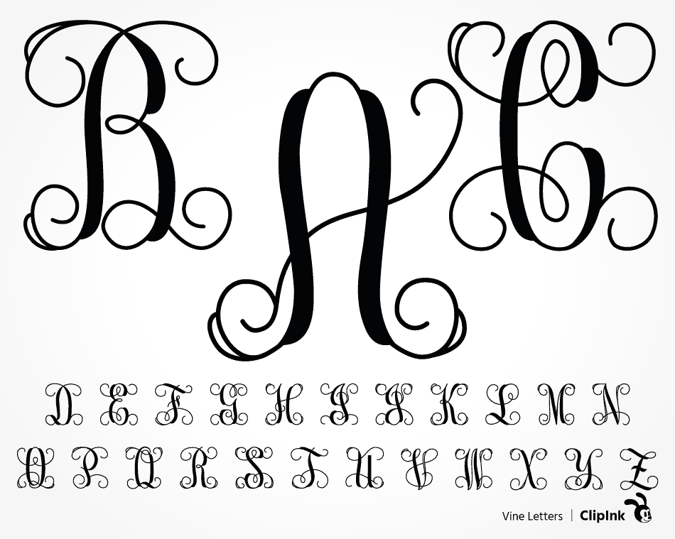 and Png Digital Download cut file  clip art for Cricut Silhouette JPG Dxf Vine Monogram Letters  SVG EPS and vinyl systems